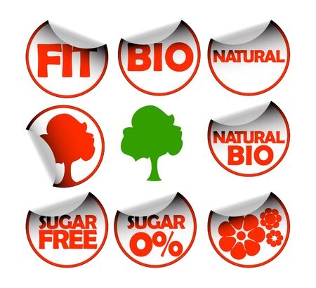 Set of labels for organic, fresh, healthy, bio food Stock Photo - 4536888
