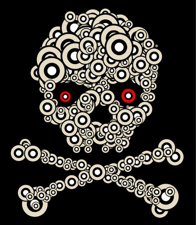 Skull made from circles on a black background photo