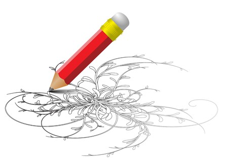 Red pencil drawing a sketch - vector version photo