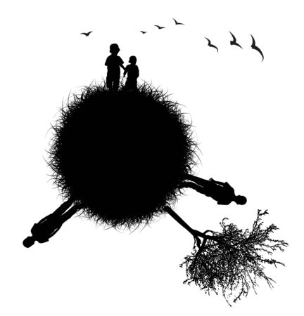 Silhouette of the planet with children photo