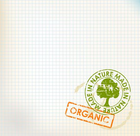 old mark: Squared paper with organic stamps - grunge bioeco background