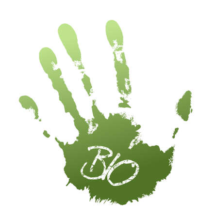 Green print of hand with grunge bio label photo