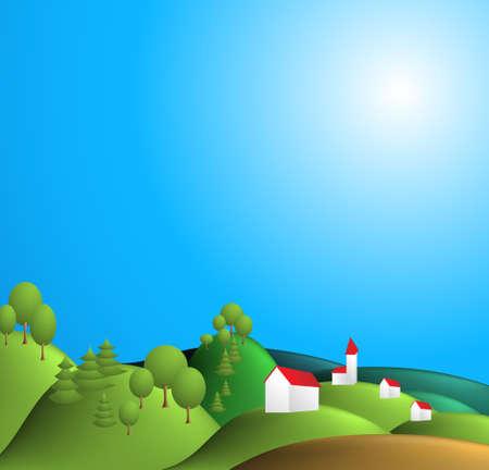 view wallpaper: Rural landscape illustration - blue sky, green hills, village
