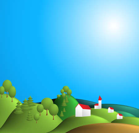 Rural landscape illustration - blue sky, green hills, village