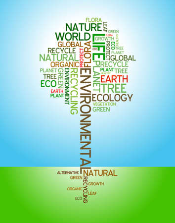Ecology - environmental poster made from words in the shape of green tree Stock Photo - 4857419