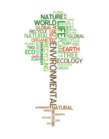 Ecology - environmental poster made from words in the shape of green tree Stock Photo - 4858024