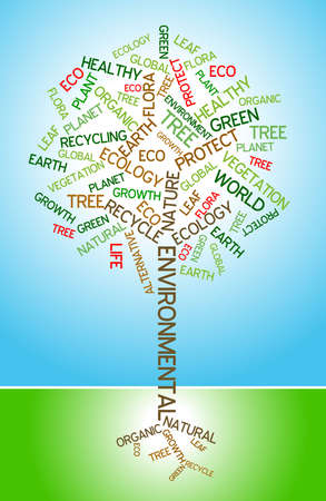 Ecology - environmental poster made from words in the shape of green tree Stock Photo - 4858014