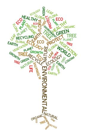 Ecology - environmental poster made from words in the shape of green tree Stock Photo - 4858061