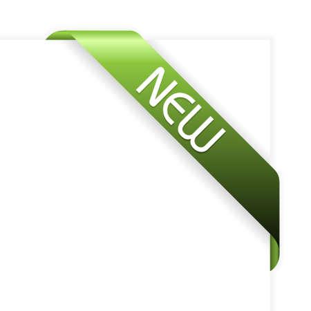 New green corner ribbon - fresh new mark Stock Photo - 4857421
