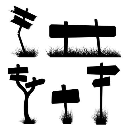 Set of various signposts silhouettes Stock Photo - 4858071