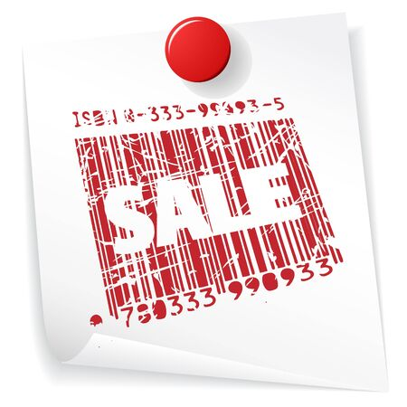 Paper sale announcement - grunge sale stamp on white Stock Photo - 4858077