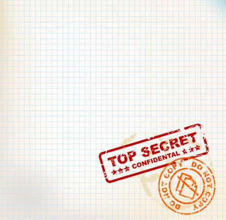 avviso importante: Carta a quadretti con Top Secret francobolli e luogo per il vostro testo Archivio Fotografico