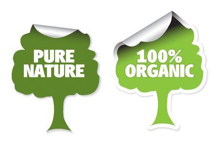 Set of tree labels for organic, fresh, healthy, bio food Stock Photo - 4858083