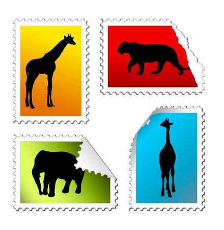 set of safari post stamps on a white background photo