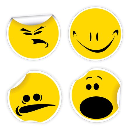 Set of yellow labels with various smiles photo