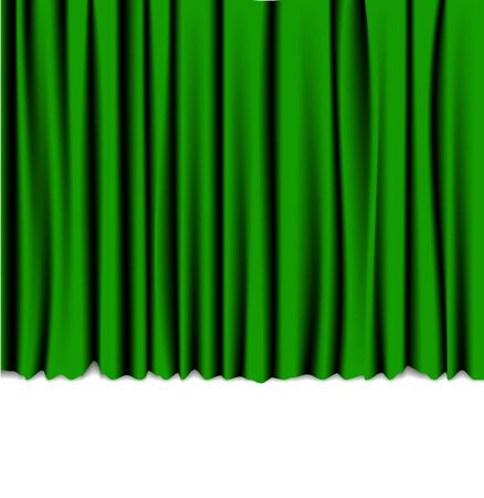 drapery: Green curtain from the theater - background with place for your text Stock Photo
