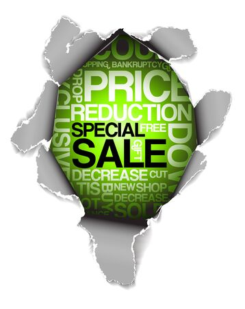 Sale discount advertisement - Hole with texts Stock Photo - 5124526