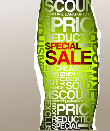 Green sale discount advertisement - Hole with texts Stock Photo - 5124512