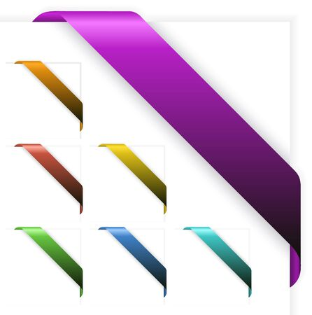 Set of Empty colorful corner ribbons - you can write some text on it (sale, new, sold, free, hot, etc) photo