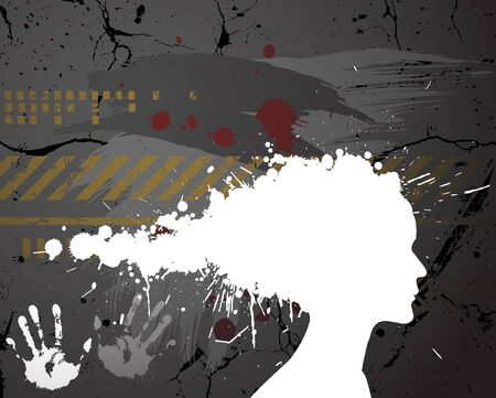 grafiti: Girl silhouette made from spatters on the grunge background