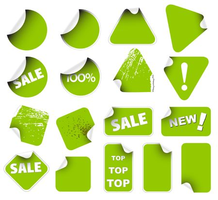 lozenge: Set of green labels badges and stickers