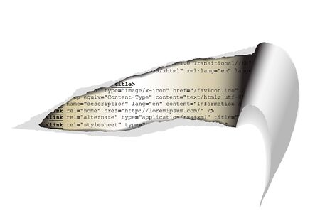 htm: Hole in the webpage - you can see some code of the website Stock Photo