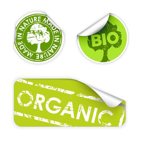 Set of labels with stamps for organic, fresh, healthy, bio food photo