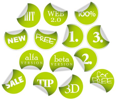 Labels badges and stickers with various texts photo