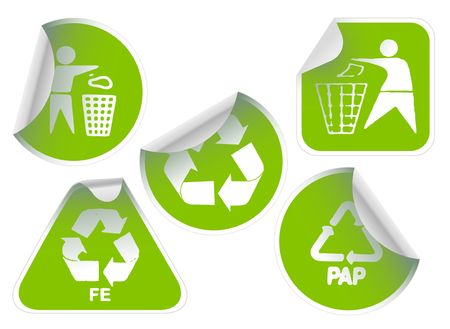 Set of green labels badges and stickers with recycle icons photo