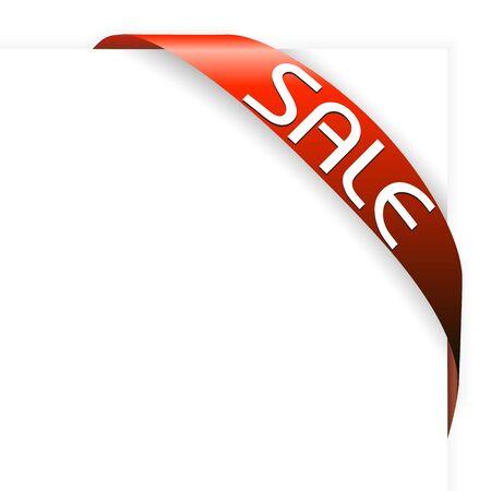 nastro angolo: Angolo rosso della barra multifunzione per elementi con una vendita nel tuo eshop Archivio Fotografico