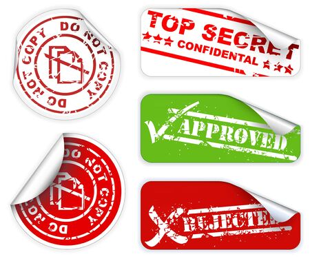 Top secret, approved, rejected, top confidental labels and stickers photo