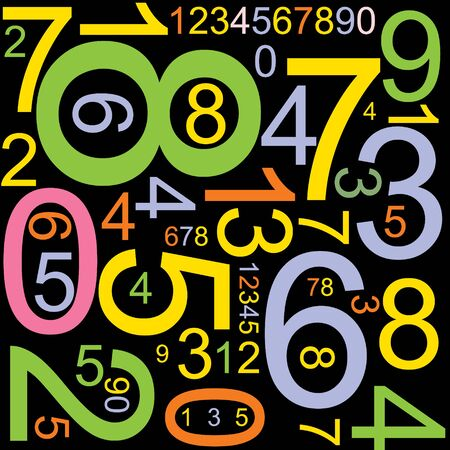 Abstract background with colorful numbers photo