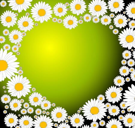 Green heart made from small flowers Stock Photo - 5286318