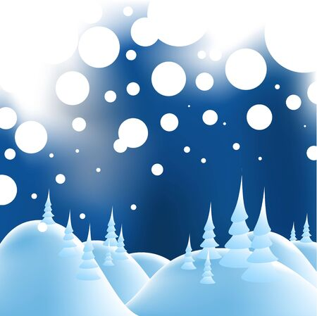 Winter christmas landscape in night with snow flakes Stock Photo - 5508085