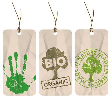 Set of three grunge tags for organic  bio  eco photo