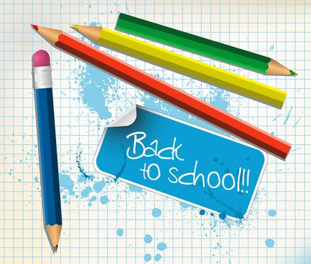 Back to school poster with colorful pencils Stock Photo - 5508065