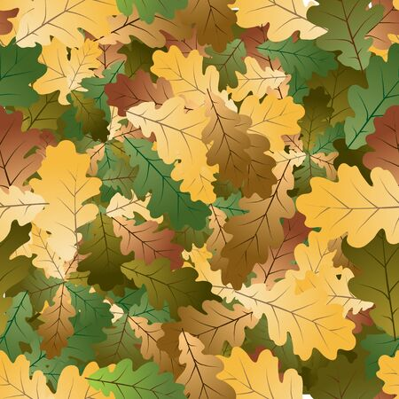 Autumn colorful Oak leafs texture - seamless pattern photo