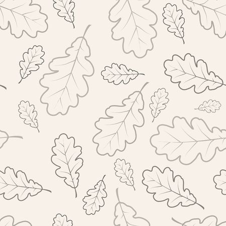 Oak leafs texture outline drawing - seamless pattern photo