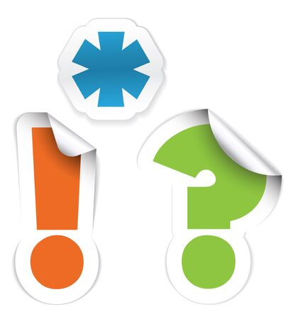 interrogation mark: Set of labels - asterisk, exclamation mark and question mark Stock Photo
