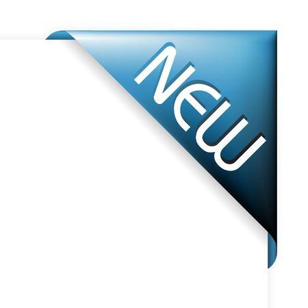nastro angolo: Nastro angolo blu per i nuovi elementi nel tuo eshop  Archivio Fotografico