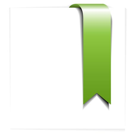 flapping: Fresh green ribbon - bookmark on a white sheet of paper