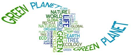 Ecology poster - planet Earth made from environmental phrases photo