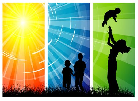 silhouete: Family love - women and her children with the sun in the background