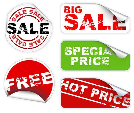 pricetag: Set of labels badges and stickers for sale and hot price Stock Photo