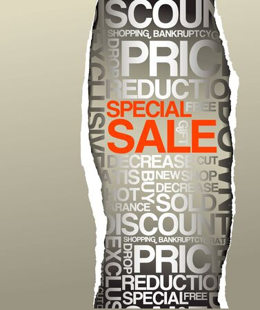 Sale discount advertisement - Hole with texts Stock Photo - 5508076