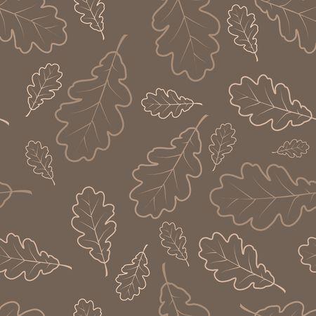 outline drawing: Foglie di quercia disegno di contorno texture - autunno seamless pattern Archivio Fotografico