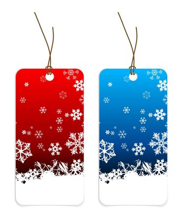 Christmas tags with snowflakes (blue and red version) photo