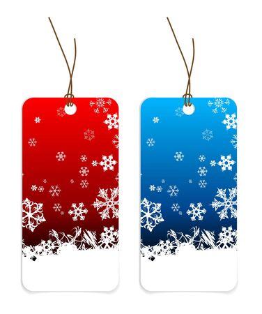 lazo regalo: Etiquetas de Navidad con copos de nieve (versi�n azul y roja)