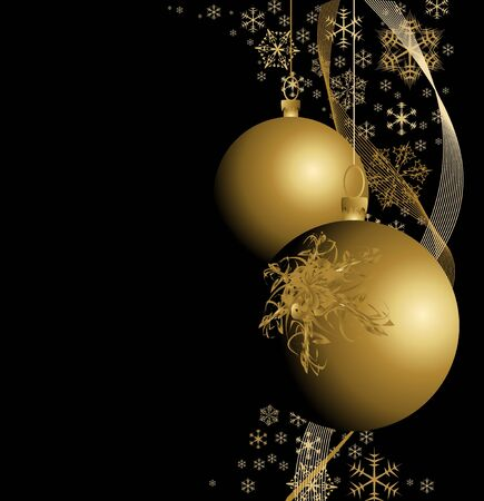 weihnachten: Golden Christmas bulbs with snowflakes on black background