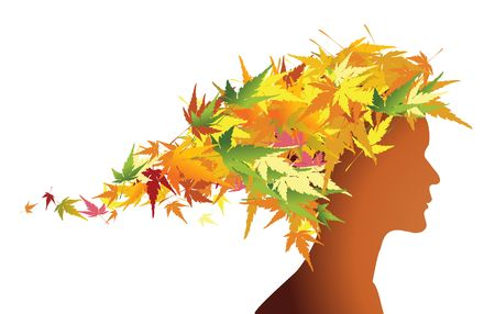 Autumn floral girl silhouette (with hairs from colorful leafs) photo